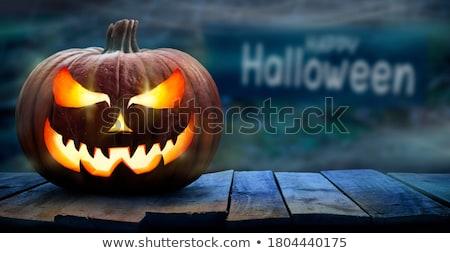 Foto d'archivio: Halloween · zucche · buio · foresta · scary · lanterna