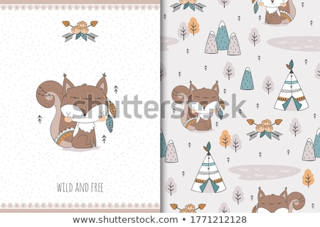 red american squirrel isolated animal cartoon stock photo © cienpies