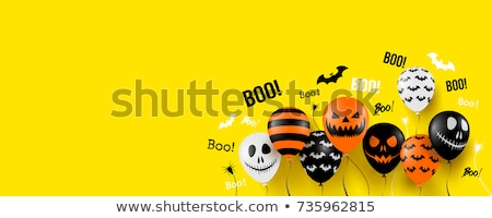 happy halloween party banner with balloons decoration Stock photo © SArts