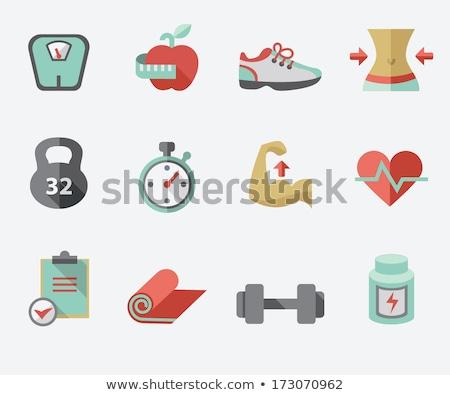 Fitness icon vector geïsoleerd witte Stockfoto © smoki
