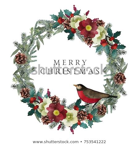 Weihnachten Kranz rot Beeren Blätter Text Stock foto © ikopylov