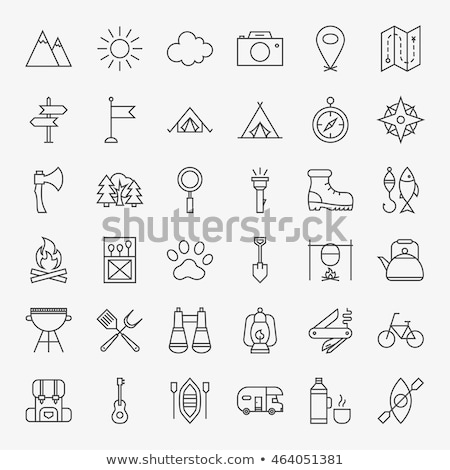 Tourist Trip Camp Icon Vector Outline Illustration Stock photo © pikepicture