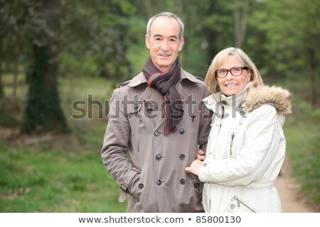 Couple Walk Through Winter Park, Cold Weather Stock photo © robuart