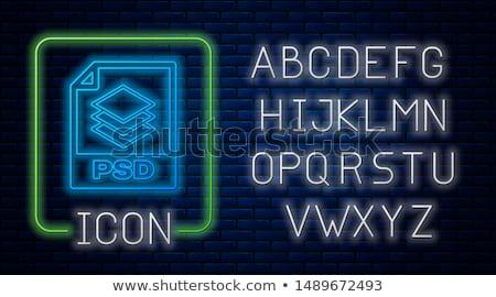 Adat mappa neonreklám felhasználó interfész promóció Stock fotó © Anna_leni