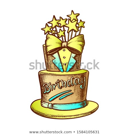 Birthday Cake Decorated In Suit Form Ink Vector Stock photo © pikepicture