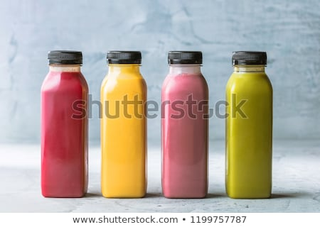 Berry fruit juice in glass, vegan smoothie with chia for diet de Stock photo © Anneleven