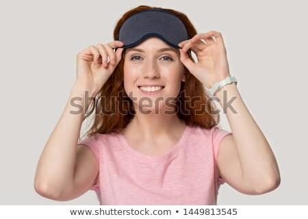 Goedemorgen ontwaken gelukkig Rood jonge vrouw Stockfoto © vkstudio