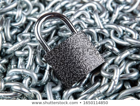 durable padlock on a pile of steel chain security service Stock photo © mizar_21984