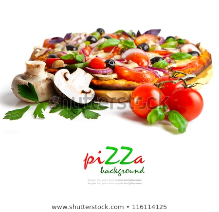 Fresh round baked Pepperoni italian pizza with tomatoes with basil on black background with grey lin Stock photo © DenisMArt