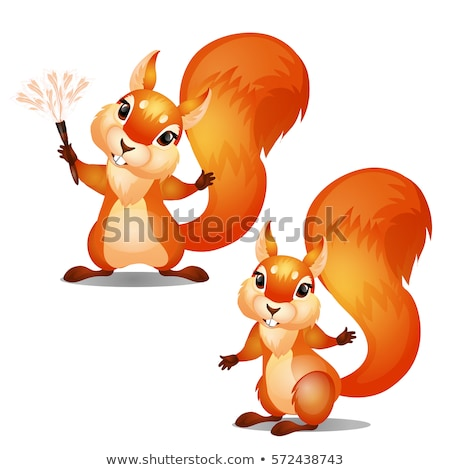 Cute animated squirrel smiling isolated on white background. Vector cartoon close-up illustration. Stock photo © Lady-Luck