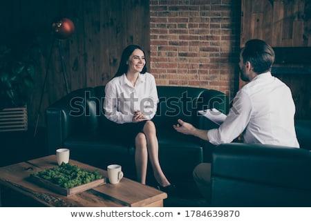Sorridente menina potável café pergunta Foto stock © robuart