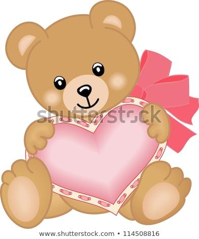 Dia dos namorados cartões postais ursos de pelúcia cartões vetor asas de anjo Foto stock © robuart