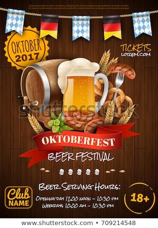 Oktoberfest fesztivál tipográfia fából készült textúra felirat Stock fotó © ShustrikS