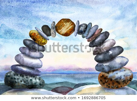 Watercolour painting of an arch of pebbles Stock photo © Natalia_1947