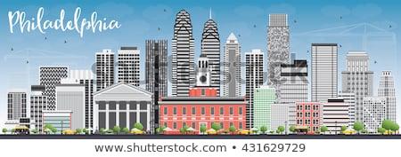 フィラデルフィア スカイライン グレー 建物 青空 ストックフォト © ShustrikS