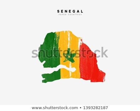 Szenegál zászló fehér keret felirat Afrika Stock fotó © butenkow