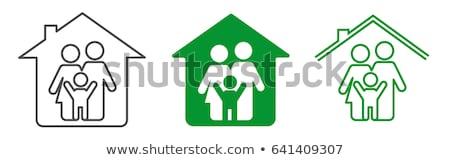Mieszkaniowy rodziny domu symbol architektury piktogram Zdjęcia stock © supertrooper