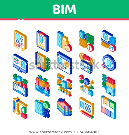 Bim Building Information Modeling Isometric Icons Set Vector Stock photo © pikepicture
