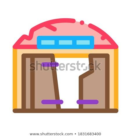 Vernietigd garage icon vector schets illustratie Stockfoto © pikepicture