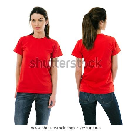 fiatal · szexi · nő · visel · vörös · ruha · pózol · lépcsősor - stock fotó © stryjek