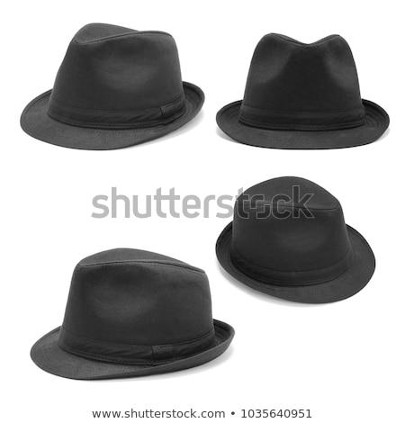 Siyah fötr şapka şapka beyaz deri iş Stok fotoğraf © RuslanOmega