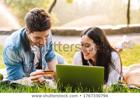 Stok fotoğraf: Mutlu · dizüstü · bilgisayar · kullanıyorsanız · çim · bilgisayar · sevmek