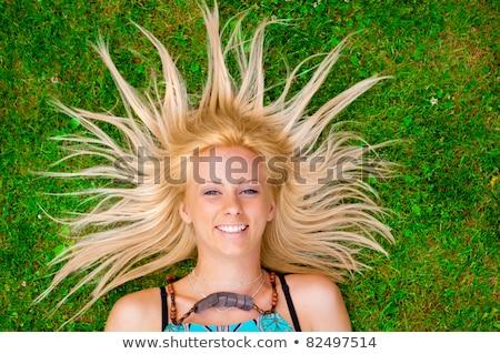женщину · газона · солнце · Европа · баланса · гламур - Сток-фото © hasloo