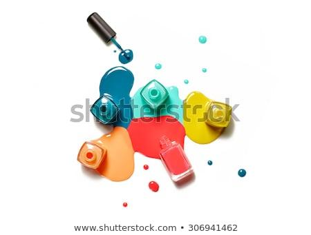 Foto stock: Unha · polonês · garrafas · branco · garrafa · preto · glamour