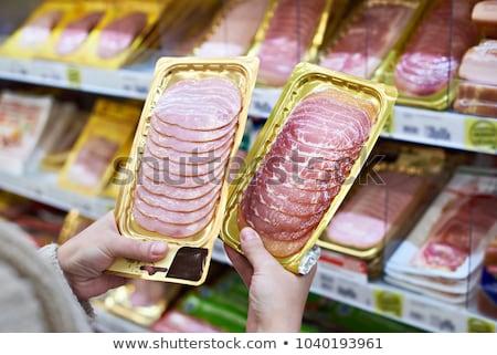 smakelijk · ham · witte · schotel · ondiep - stockfoto © broker