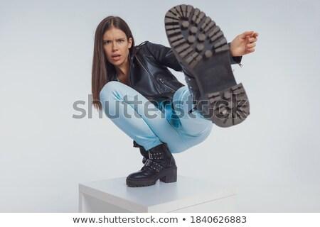 mulher · jaqueta · de · couro · sensual · mulher · jovem · jeans - foto stock © feedough