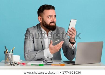 ストックフォト: ビジネスマン · ノートパソコン · ビジネス · 顔 · ノートブック · 企業