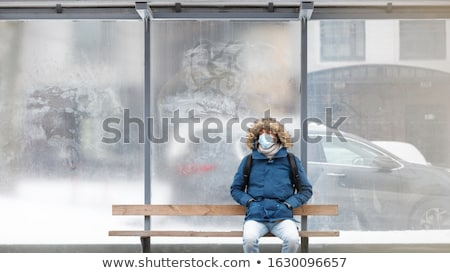Banco sozinho inverno gelado lago Balaton Foto stock © samsem