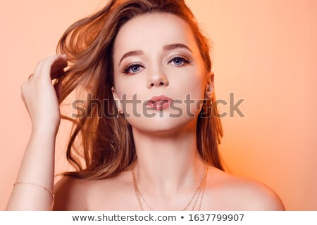 jovem · bonitinho · mulher · tocante · limpar · cara - foto stock © gromovataya
