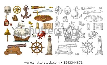 Antieke kanon geïsoleerd witte hout pistool Stockfoto © konturvid