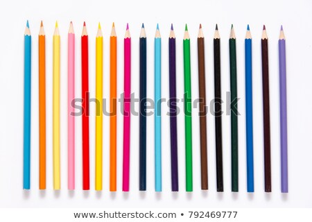 Set of color pencils on white background Stock photo © pzaxe