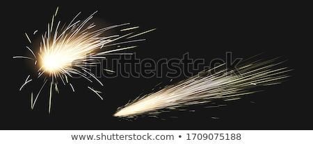 Hegesztés tűz izolált fekete háttér piros Stock fotó © brulove