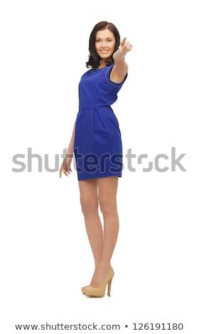 nő · elegáns · ruha · mutat · ujj · kéz - stock fotó © dolgachov