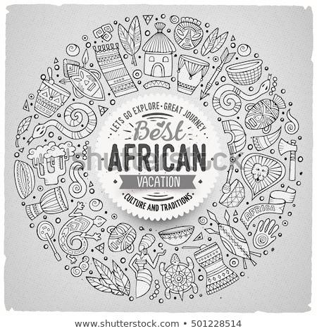 africano · leão · máscaras · quadro · árvore · África - foto stock © dayzeren