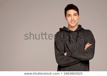 gülen · erkek · kış · portre · gülümseme · kar - stok fotoğraf © Lessa_Dar