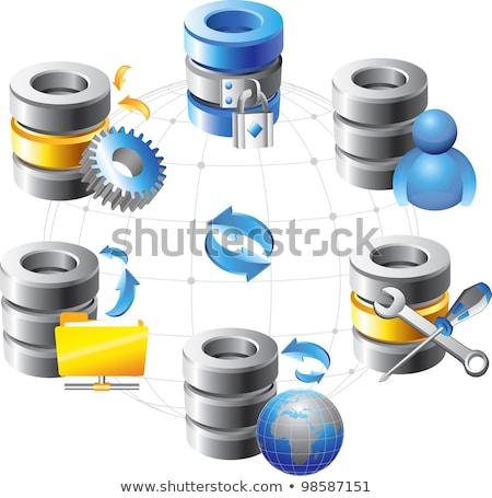 ilustração · 3d · grupo · banco · de · dados · projeto · tecnologia · servidor - foto stock © kolobsek