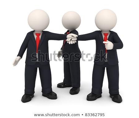 3D оказанный деловые люди равномерный рук вместе Сток-фото © dacasdo