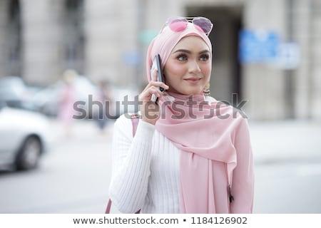 Arabes femme soft voile blanc noir Photo stock © Fernando_Cortes