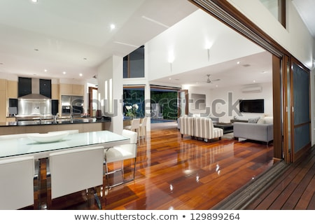 New built house in the sunset Stock photo © phila54