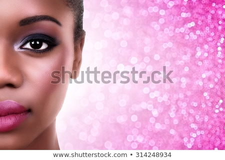 Fiatal gyönyörű nő szemek rózsaszín ajkak portré smink Stock fotó © juniart