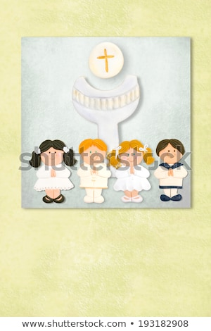 Cute Angel and childrens first communion invitation card Stock photo © marimorena