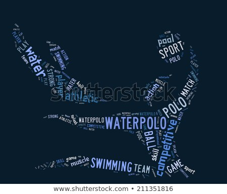 waterpolo word cloud with blue wordings stock photo © seiksoon