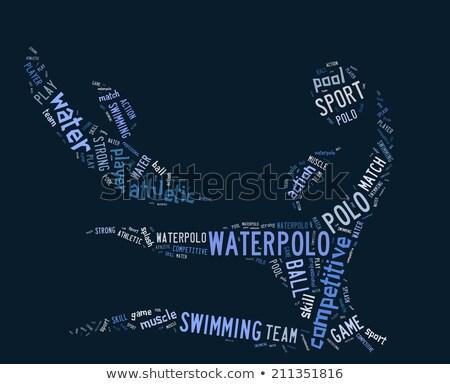 Woordwolk Blauw professionele spel splash cartoon Stockfoto © seiksoon