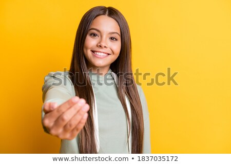 Expressive cute young brunette. Stock photo © lithian