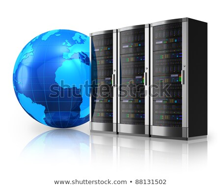 Stock photo: Row of Network Servers with Globe