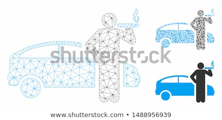 wire frame car in the colored smoke stock photo © cherezoff